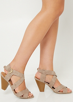 Taupe Crossing Strap Cone Heels