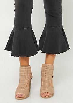 Taupe Perforated Strap Block Heels