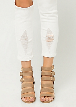 Taupe Caged Buckle Heels