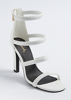 White Caged Strappy Stilettos
