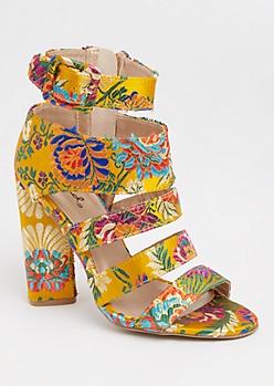 Floral Strappy Block Heels