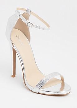 Silver Textured Metallic Stilettos