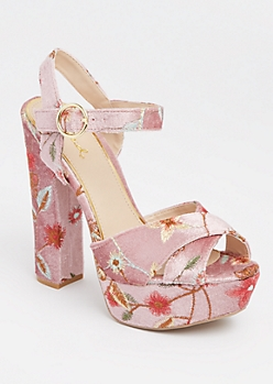 Light Pink Floral Cross Strap Platform Heels