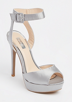 Pewter Satin Open Toe Stilettos