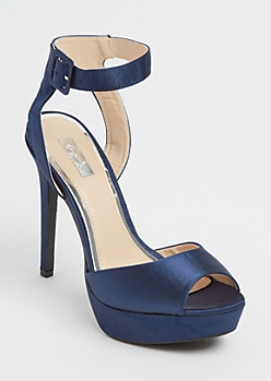 Navy Satin Stilettos