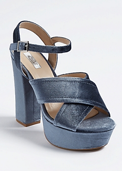 Blue Velvet Cross Strap Platform Heels