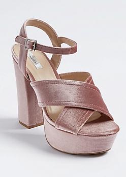 Light Pink Velvet Cross Strap Platform Heels