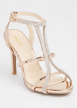 Rose Gold Metallic Strappy Rhinestone Stilettos