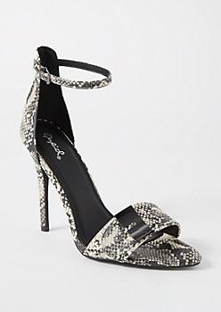 Snakeskin Print Studded Stiletto Heels