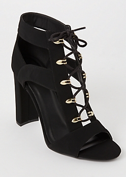 Black Matte Lace Up Cutout Heels