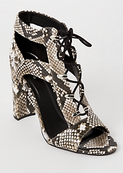 Snakeskin Print Lace Up Cutout Heels