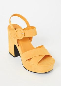 Mustard Crisscross Platform Heels