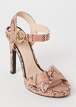 Pink Snakeskin Print Crisscross Stiletto Heels