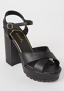 Black Crisscross Lug Sole Platform Heels