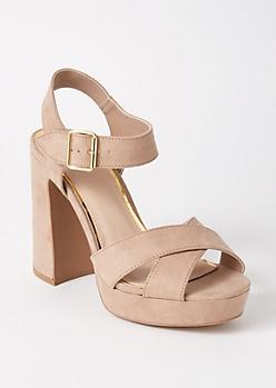 Tan Crisscross Platform Heels