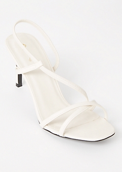 White Faux Leather Strappy Heels
