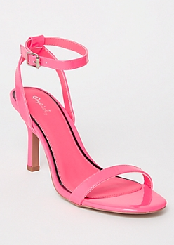 Neon Fuchsia Low Stiletto Heels