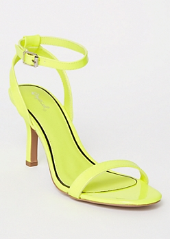 Neon Yellow Low Stiletto Heels
