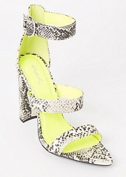 Neon Snakeskin Print Strappy Pointed Heels