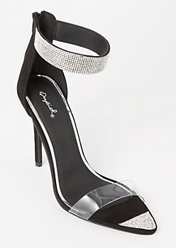 Black Pointed Rhinestone Strap Heels