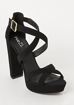 Black Crisscross Open Toe Heels
