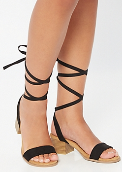 Black Lace Up Single Strap Heels