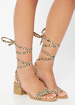 Tan Animal Print Lace Up Single Strap Heels