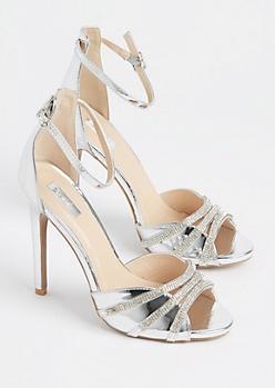 Silver Metallic Rhinestone Strappy Stilettos