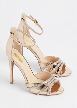 Rose Gold Metallic Rhinestone Strappy Stilettos