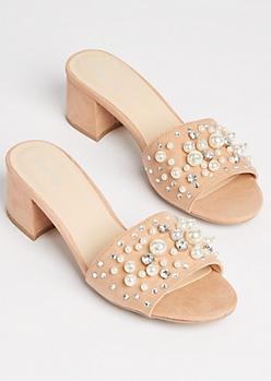 Light Pink Pearl Faux Suede Mules