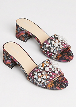 Floral Pearl Mules