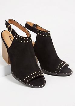 Black Studded Peep Toe Slingback Heels