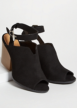 Black Perforated Ankle Wrap Peep Toe Booties