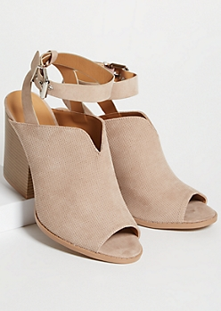 Taupe Perforated Ankle Wrap Peep Toe Booties