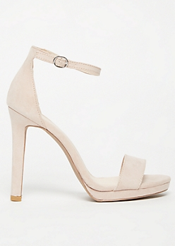 Nude Faux Suede Open Toe Strappy Stiletto Heels