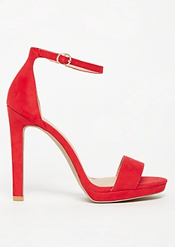 Red Faux Suede Open Toe Strappy Stiletto Heels