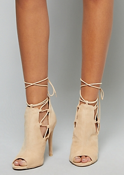 Nude Faux Suede Wrap Up Peep Toe Heels