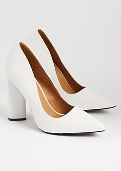 White Faux Leather Block Heels