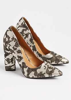 Camo Faux Leather Block Heels