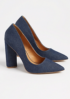 Denim Block Heels