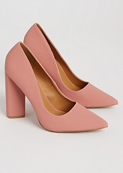 Medium Pink Faux Suede Block Heels