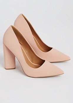Light Pink Faux Suede Block Heels