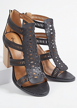 Black Faux Leather Perforated Strap Block Heels