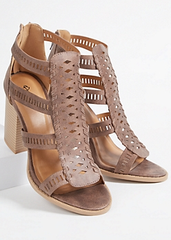 Taupe Faux Leather Perforated Strap Block Heels
