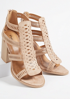 Tan Faux Leather Perforated Strap Block Heels