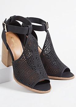 Black Faux Leather Perforated Peep Toe Heels