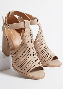 Tan Faux Leather Perforated Peep Toe Heels