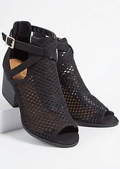 Black Faux Leather Perforated Buckled Peep Toe Heels