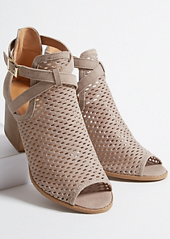 Taupe Faux Leather Perforated Buckled Peep Toe Heels