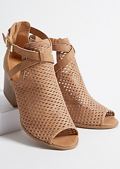 Camel Faux Leather Perforated Buckled Peep Toe Heels